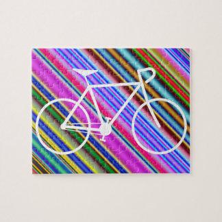 Puzzle Forme blanche de silhouette de bicyclette, lignes