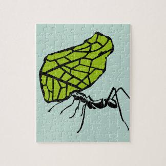 Puzzle Fourmi de coupe de feuille nature Stencil