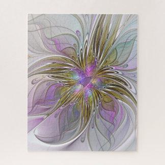 Puzzle Fractale abstraite colorée florale avec le rose et