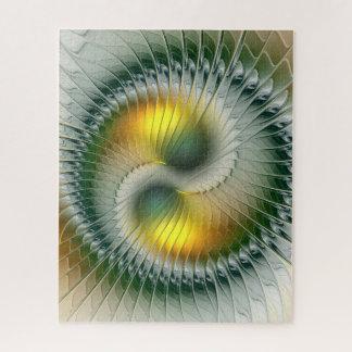 Puzzle Fractale colorée d'abrégé sur vert jaune de Yin