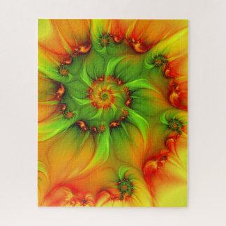 Puzzle Fractale colorée d'été de vert d'abrégé sur chaud