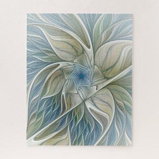 Puzzle Fractale kaki bleue d'abrégé sur rêveur floral