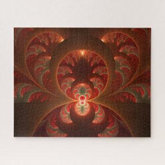 Puzzle Fractale moderne abstraite lumineuse de rouge
