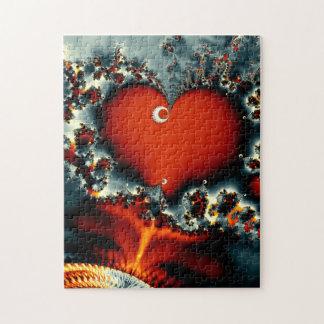 Puzzle fractale rouge de coeur de conception abstraite