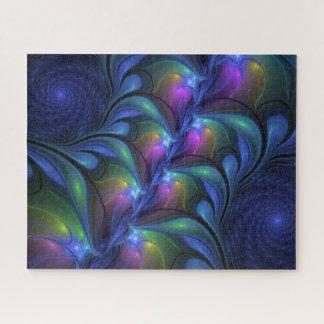 Puzzle Fractale verte rose bleue abstraite lumineuse