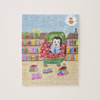Puzzle futé de pingouin de lecture