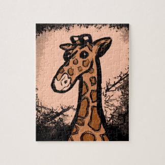 Puzzle Girafe noire d'encre de bande dessinée