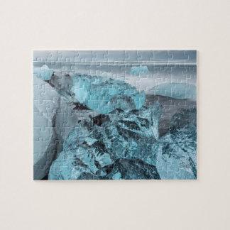 Puzzle Glace bleue sur le paysage marin de plage, Islande
