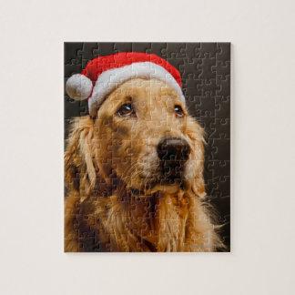 Puzzle Golden retriever posant pour son Noël