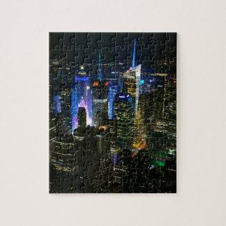 Puzzle Gratte-ciel de Manhattan Etats-Unis de nuit de New