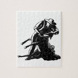 Puzzle Gravure sur bois de cisaillement en moutons de