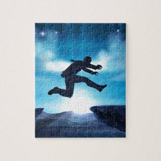 Puzzle Homme d'affaires sautant de silhouette