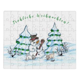 Puzzle Homme de neige avec le chat et le chiot de chien