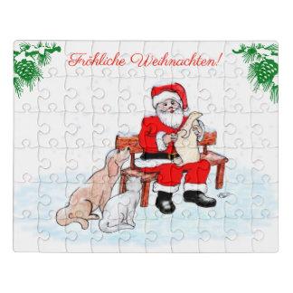Puzzle Homme de Noël avec le chien et le chat