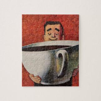 Puzzle Homme heureux vintage buvant la tasse de café