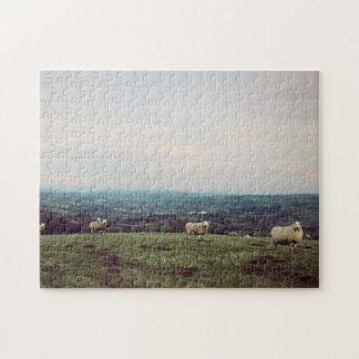 Puzzle Horizon vintage de Gallois de moutons de paysage