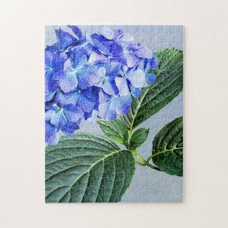 Puzzle Hortensia bleu-foncé avec l'arrière - plan du
