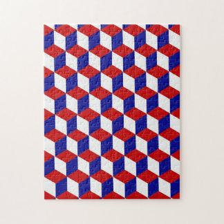 Puzzle - illusion de bloc en rouge, blanc, et le b