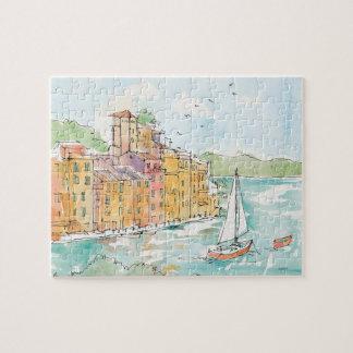 Puzzle Illustration de port de Porofino avec le voilier