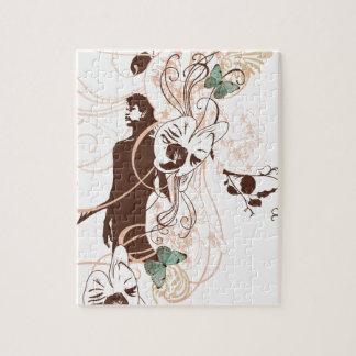 Puzzle Illustration d'une femme et des papillons