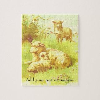 Puzzle Illustration : moutons et agneau se reposant dans