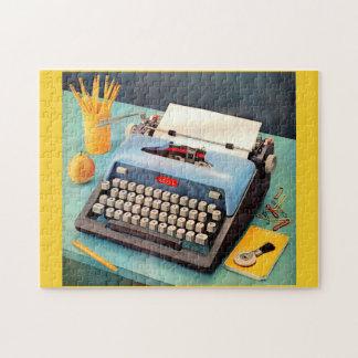 Puzzle image d'annonce de machine à écrire des années