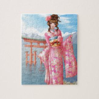 Puzzle Japanese pink kimono