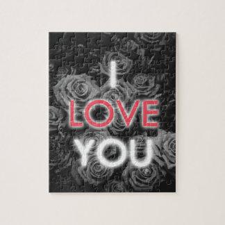 Puzzle Je t'aime bouquet noir et blanc Valentine de rose