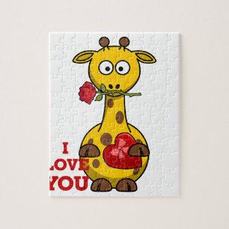 Puzzle je t'aime girafe