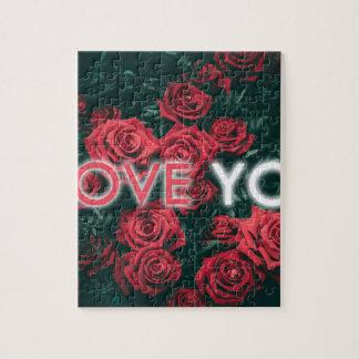 Puzzle Je t'aime le bouquet de Valentine de roses