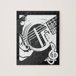 Puzzle Jeu de guitare de mélomane noir et blanc