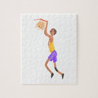 Puzzle Joueur de basket accrochant sur l'autocollant