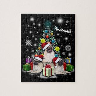 Puzzle Joyeux Noël avec l'animal de chien de carlin