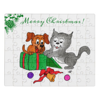 Puzzle Joyeux Noël avec le chat et le chien