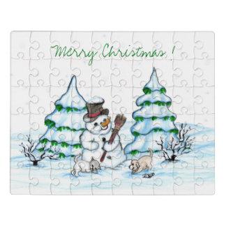 Puzzle Joyeux Noël ! Bonhomme de neige avec le chat et le