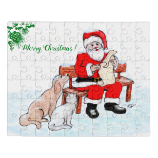 Puzzle Joyeux Noël - le père noël avec le chat et le