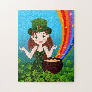 Puzzle La fille célèbre le saint Patrick