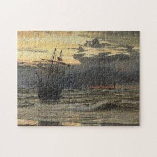 Puzzle La Mer-Plage après un temps de tempête, aube