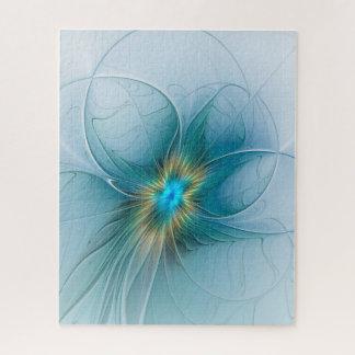 Puzzle La peu de fleur bleue moderne de fractale d'or de