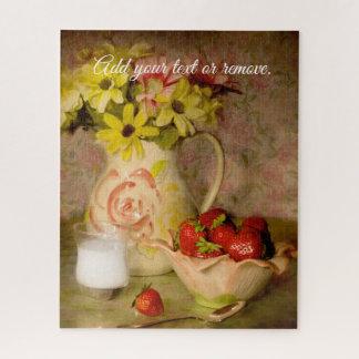 Puzzle La vie toujours : fraises dans la cuvette, verre