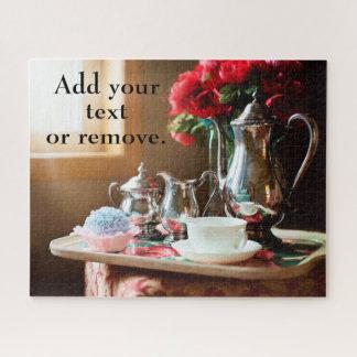 Puzzle La vie toujours : service à thé argenté, fleurs
