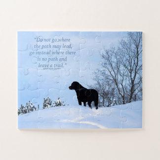 Puzzle Labrador noir - citation 2 de la vie de chemin