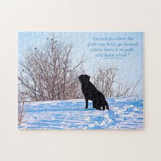 Puzzle Labrador noir - citation de la vie de chemin