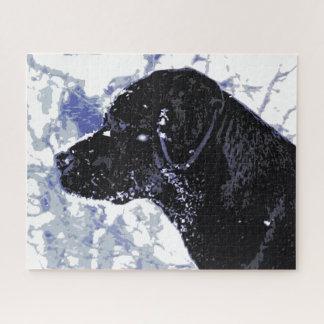 Puzzle Labrador noir - pays des merveilles d'hiver