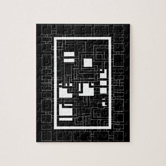 """Puzzle """"Labyrinthe de carrés"""" noir et blanc"""