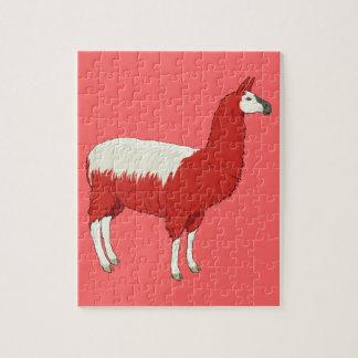 Puzzle Lama rouge drôle
