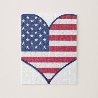 Puzzle L'amour Etats-Unis Etats-Unis de coeur de symbole