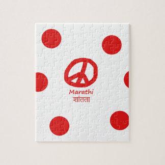 Puzzle Langue de Marathi et conception de symbole de paix