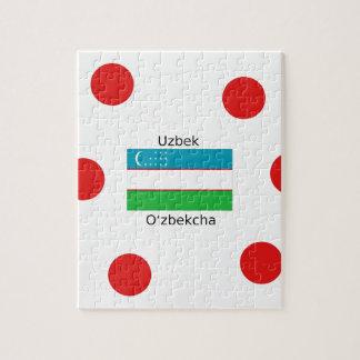 Puzzle Langue d'Ouzbékistan et conception de drapeau de