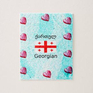 Puzzle Langue et conception géorgiennes de drapeau